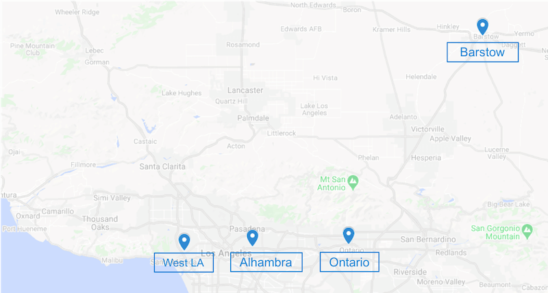 Map of ProFibroidMD non-surgical fibroid treatment centers in Los Angeles area